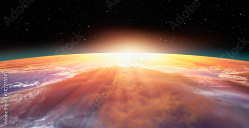 Wall mural Planet Earth with a spectacular sunset