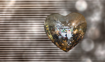 Heart shape Love symbol with Heart Shaped Disco Ball
