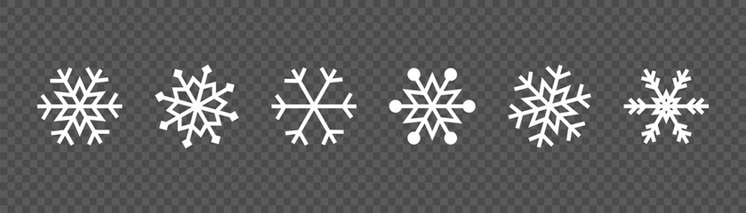 Wall Mural - Snowflake set on isolated background. Winter pattern snow ornament vector design. Frost background. Christmas icon. Vector illustration