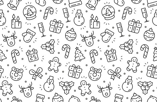 Seamless pattern with Christmas icons. Isolated on White background
