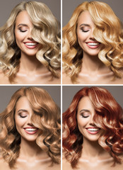 Wall Mural - Collage. Portraits of a cute woman with different hair colors.