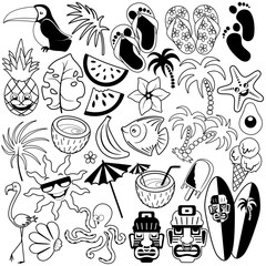 Deurstickers Draw Tropical Summer Doodles Black and White Set of 31 Vector Characters isolated