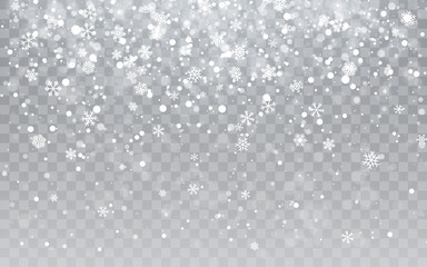 Christmas snow. Falling snowflakes on transparent background. Snowfall. Vector illustration Fotomurales