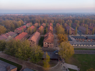 Aerial of Concentration camp Kz Auschwitz I in Poland Birkenau drone shot in Oswiecim. The most famous concentration camp of fascism reich germany Hitler