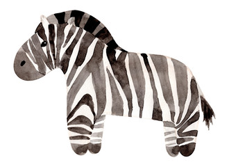 Watercolor hand painted zebra. Isolated on white background. Animal illustration.