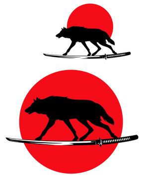wolf running along samurai katana sword - wild animal silhouette and traditional japanese red sun bushido concept vector design set