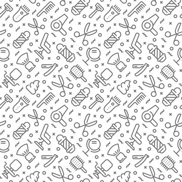 Barbershop related seamless pattern with outline icons