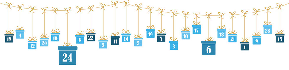 advent calendar 1 to 24 on christmas presents