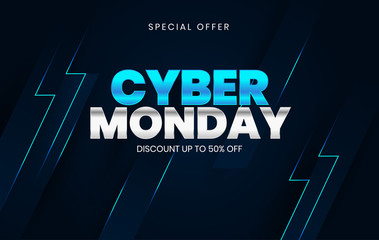 Sale banner template design, Cyber Monday special offer sale up to 50% off.