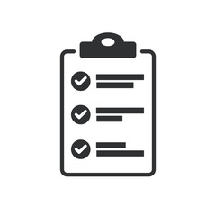 Flat design of checklist icon isolated on transparent background. To-do list vector illustration. Fill form concept.