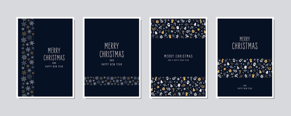 Wall Mural - Christmas card set. Merry Christmas icon greeting text lettering card set blue background vector.