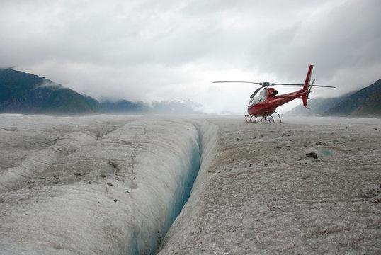 Helicopter on Glacier
