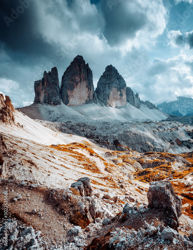 Wall mural Great view of alpine rocky massif. Location National Park Tre Cime di Lavaredo, Dolomite, South Tyrol, Italy, Europe.