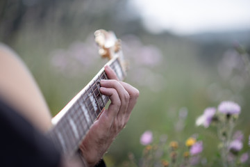 Person playing music with acoustic guitar in the middle of the field, surrounded by green plants and flowers