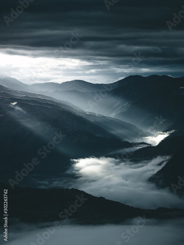 Wall mural Amazing mountain view. Location Upper Svaneti, Georgia, Europe. High Caucasus ridge.