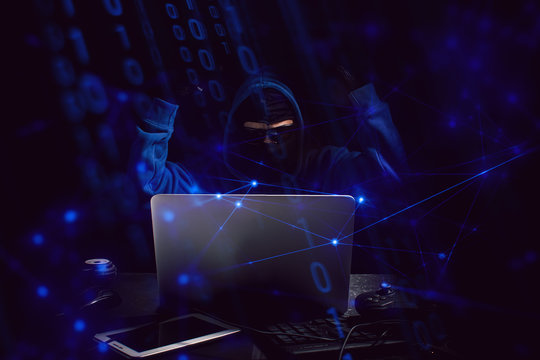 hacker with computer security data information technology network, virus attack to server, software program hacking to internet