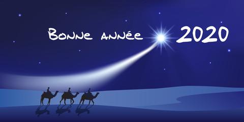Stores photo Violet Carte de vœux 2020 montrant les trois rois mage à dos de dromadaire se dirigeant vers Bethléem avec des cadeaux pour célébrer la naissance de Jésus Christ.