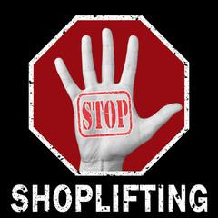 Stop shoplifting conceptual illustration. Global social problem