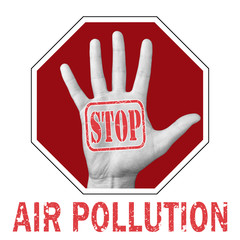 Stop air pollution conceptual illustration. Open hand with the text stop air pollution.