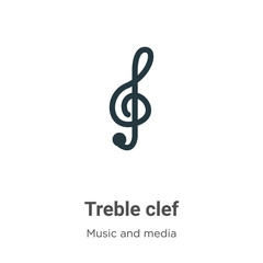 Treble clef vector icon on white background. Flat vector treble clef icon symbol sign from modern music and media collection for mobile concept and web apps design.