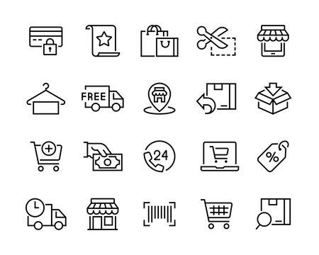 set of shopping icons. editable vector stroke 96x96 pixel
