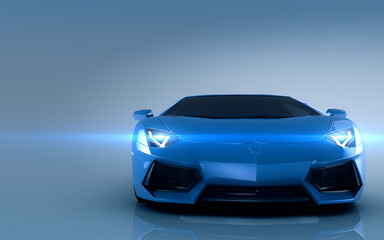 Sports car. Blue sport car on blue background.