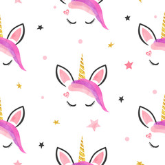 Seamless cute unicorns pattern. Vector illustration for girls design