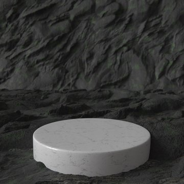 White marble product stand in ancient cave. Pedestal. Empty Platform.