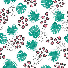 Seamless tropical pattern with leopard print and palm leaves.