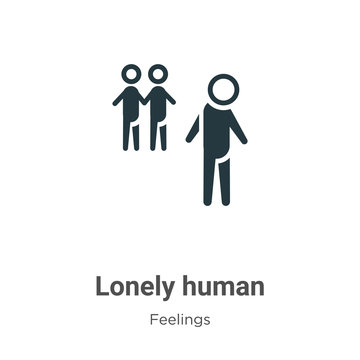 Lonely human vector icon on white background. Flat vector lonely human icon symbol sign from modern feelings collection for mobile concept and web apps design.
