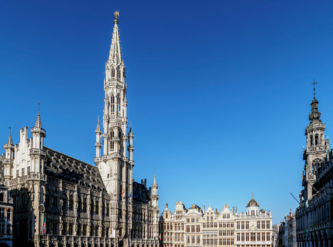 Town Hall at Grand Place, UNESCO World Heritage Site, Brussels, Belgium