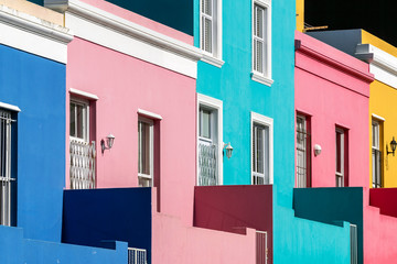 Exterior of colorful houses