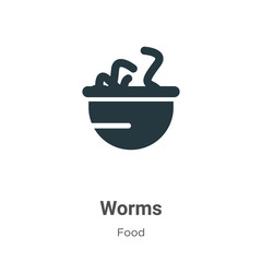 Worms vector icon on white background. Flat vector worms icon symbol sign from modern food collection for mobile concept and web apps design.