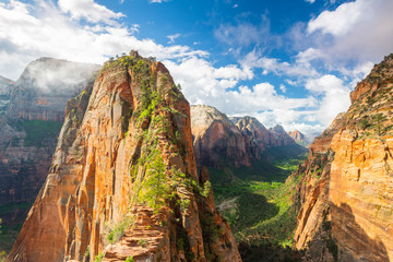 View down Zion Canyon from Angels landing Zion National Park, Utah, USA