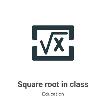 Square root in class vector icon on white background. Flat vector square root in class icon symbol sign from modern education collection for mobile concept and web apps design.