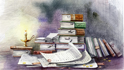 old folios and scrolls, ink and watercolor drawing.
