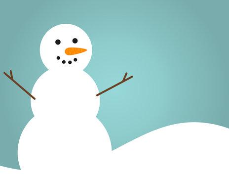 Happy snowman blue winter seasonal background.