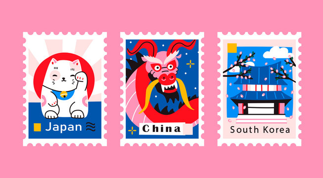 Japan, China, South Korea. Postage mail stamps, postmarks. Various famous countries of the world with popular stuff. Hand drawn colored vector set. Modern trendy illustration. Every stamp is isolated