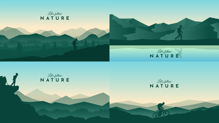 Vector landscapes set. Travel concept of discovering, exploring and observing nature. Hiking. Adventure tourism. The guy watches nature, riding at mountain bike, climbing to the top and going hike  Fotomurales