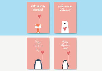 Valentine's Day Card Layouts with Cute Animals