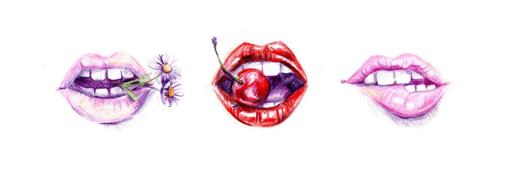 Sexy biting lips set.