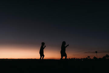 Silhouette of brother and sister walking on beach at sunset