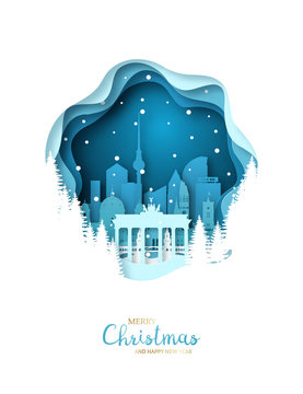 Snowy Berlin city. Paper art greeting card. Merry Christmas and Happy New Year Berlin. Vector illustration.