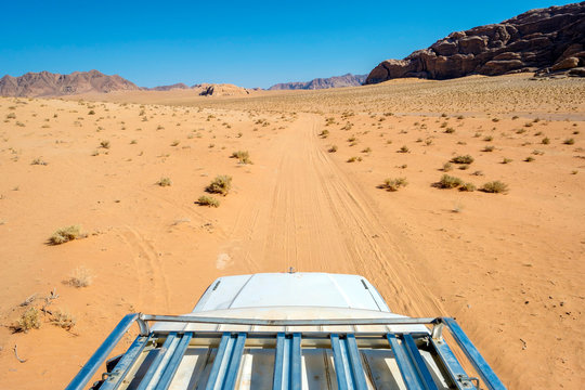 View from the roof of a four-wheel drive vehicle, Wadi Rum, Jordan