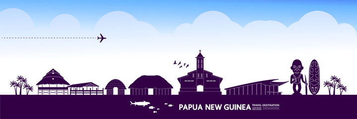 Fototapete - Papua New Guinea travel destination grand vector illustration.