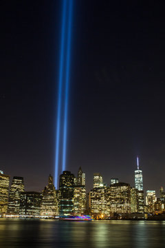 The September 11th Memorial in Light, seen from Dumbo, Brooklyn.