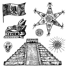 Mexico set in vintage style. Traditional national elements: pyramid and star, flag and dragon. Engraved hand drawn sketch.