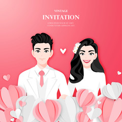 Love couple on wedding day in paper heart shape background. Valentine's Day cartoon character design vector