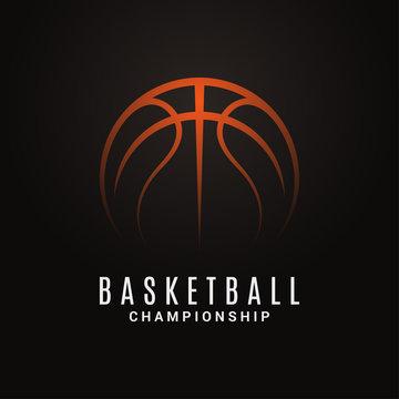Basketball championship logo. Ball on black object