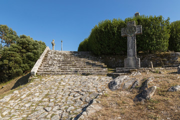 Monte Santa Tecla, different sculptures at the beginning of the built area, Galicia, Spain